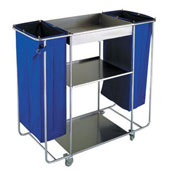 Housekeeping trolley with 3 shelfs, with 2 clip for fixation of the bags, with 2 linen bags with curtains, stainless steel, 550*1030*1100 mm.