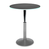 Table Burgess Tabou TP1, round, height regulation, clipboard top, stainless steel, 600/800*740/1120 mm