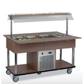 Buffet complements ROCAM EROS 4 R/F static refrigeration and digital thermostat, upper sneezeguard, entirely made of stainless steel, lighting with ne