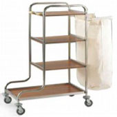 Housekeeping trolley with 3 shelfs, with shelf for pails from chipboard, bag for linen, stainless steel, 550*800*1000 mm.
