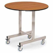 Round room service trolley, mirrored stainless tube frame, foldable toptable, walnut color, stainless steel, 920*800 mm.