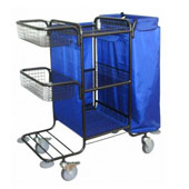 Housekeeping trolley with 3 shelfs, with 2 baskets, with linen bag, shelf for pails, steel, 550*1030*1100 mm.