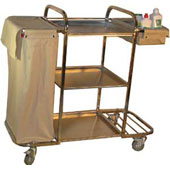 Housekeeping trolley with 3 shelfs,  linen bags with curtains, shelf for pails, basket, stainless steel, 550*1030*1100 mm.