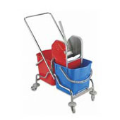 Trolley for cleaning, shelf, bag, 2 pails, steel, polymer coloring, 500*900*900 mm.