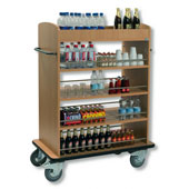 Minibars trolley with 5 shelfs from Medium Density Fibreboard, steel, 550*800*1200 mm.