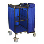 Housekeeping trolley with linen bag, with 2 baskets, shelf for pails, steel, 550*600*1100 mm.