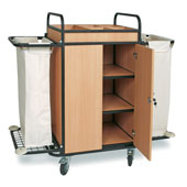 Housekeeping trolley with 4 shelfs, with 2 linen bags, with lockable doors, Medium Density Fibreboard/stainless steel, 1100*550*1100 mm.
