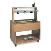 Buffet complements ROCAM ATHENA 4 BM/INFRA heated  with digital thermostat, upper sneezeguard, upper infrared lamps, stainless steel pans, LED lightin
