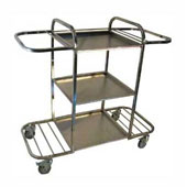 Housekeeping trolley with 3 shelfs, with 2 bag fixators, with 2 shelfs for pails, stainless steel, 550*1030*1100 mm.