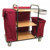 Housekeeping trolley with 3 shelfs Medium Density Fibreboard, with linen bag, basket in case, shelf for pails, steel, 550*1030*1100 mm.