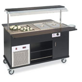 Buffet complements ROCAM EROS MIX 4/1 static refrigeration and heating with digital thermostat, mobile upper sneezeguard, entirely made of stainless s