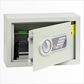 Hotel safe with electronic and key locking mechanism, gray, 310 * 110 * 200 mm.