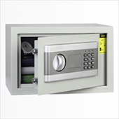 Hotel safe with electronic and key locking mechanism, gray, Hotel safe with electronic and key lock, light gray, 310 * 200 * 200 mm.310 * 110 * 200 mm