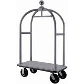 Luggage cart with integrated coat rail, stainless steel, grey base, chrome frame, 1100*620*1900 mm.