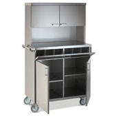 Waiter station ROCAM POLAR 2 CH INOX PPF, 4 doors, 6 compartments, castors, handle, stainless steel, 960*520*1760 mm.