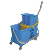 Trolley for cleaning, bag, 2 pails, tank from plastic, steel, polymer coloring, 550*600*900 mm.