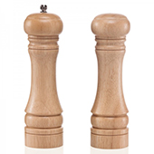 Pepper mill&salt shaker with ceramic grinding mechanism, wooden, 130 mm.