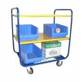 Warehouse trolley, steel tubing frame, 2 shelfs from plywood, shelf from metal mesh, steel, polymer coloring, 550*800*900 mm.