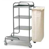 Housekeeping trolley with 3 shelfs с бортом, полкой for pails, bag for linen, stainless steel, 550*800*1000 mm.