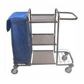 Housekeeping trolley with 3 shelfs, with bag, shelf for pails, steel, 550*1050*1100 mm.