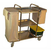 Housekeeping trolley with 3 shelfs, with 2 linen bags with curtains, shelf for pails, stainless steel, 550*1030*1100 mm.