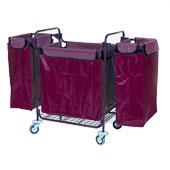 Housekeeping trolley built in sections, 3 bags, steel, 550*1400*1050 mm.