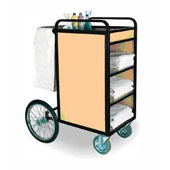 Housekeeping trolley with 4 shelfs Medium Density Fibreboard, bag for linen, bicycle castors, steel, 550*600*1100 mm.