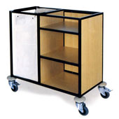 Housekeeping trolley with 3 shelfs Medium Density Fibreboard, bag for linen, steel, 550*800*1100 mm.