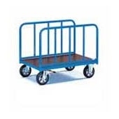 Platform trolley for warehouse, steel tubing frame, bottom from plywood, 2 handrails, steel, polymer coloring, 550*1000*900 mm.