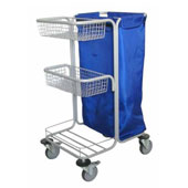 Housekeeping trolley, 2 baskets, 2 pails, steel, polymer coloring, 550*600*1100 mm.