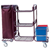 Housekeeping trolley built in sections with 3 shelfs, with linen bag, 2 pails, shelf for vacuum cleaner and pails, steel, 550*1150*1050 mm.