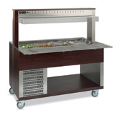 Buffet complements ROCAM ATHENA 5 R/F refrigerated regulated by digital thermostat, upper sneezeguard, stainless steel pans, lighting with neon lamp,