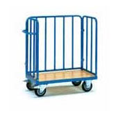 Platform trolley for warehouse, steel tubing frame, bottom from plywood, steel, polymer coloring, 550*900*1100 mm.