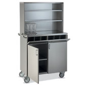 Waiter station ROCAM POLAR 2 AP INOX PPF, 2 drawers, 2 doors, 2 upper drawers closed by a small door, 6 compartments, castors, handle, stainless steel