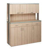 Waiter station ROCAM ALKOR 3 CH, 3 drawers with inner dividers, 6 doors, aluminium-look details, laminated chipboard, castors, 1424*510*1753 mm.