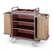 Room cleaning trolley, painted steel frame, 2 swivel castors with locking device, 3 shelfs, 2 height adjustable, 146x50x120
