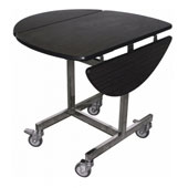 Round room service trolley, mirrored stainless tube frame,  foldable toptable, wenge color, stainless steel, 920*800 mm.
