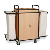 Housekeeping trolley with 4 shelfs, with 2 linen bags, with lockable doors, Medium Density Fibreboard/steel, 1100*550*1100 mm.