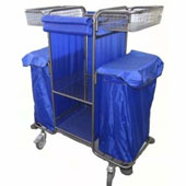 Housekeeping trolley with 3 shelfs, with 2 linen bags, with basket, steel, 550*1030*1100 mm.