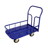 Platform trolley for warehouse with border, steel, polymer coloring, 750*1400 mm.