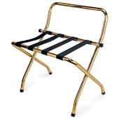 Luggage rack, foldable with back, metal, gold, 610 * 570 * 650 mm.