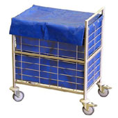 Housekeeping trolley, steel tubing structure, extra sides from mesh, bag, steel, polymer cover, 550*800*950 mm.