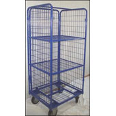 Multi-level trolley for housmaids, 4 shelfs, closed by metal mesh from 3 sides, steel, 550*700*1550 mm.