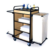Housekeeping trolley with 4 shelfs, with 2 linen bags, Medium Density Fibreboard/steel, 1100*550*1100 mm.