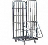Trolley for linen with 2 shelfs, with 2 lockable doors, steel, polymer coloring, 600х850х1600 mm.