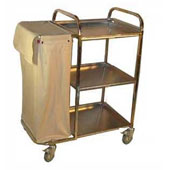 Housekeeping trolley with 3 shelfs, with 2 linen bags with curtains, stainless steel, 550*800*1100 mm.