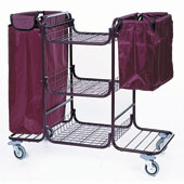 Housekeeping trolley built in sections with 3 shelfs, with 2 linen bags, shelf for vacuum cleaner and pails, steel, 550*1150*1050 mm.