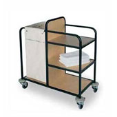 Housekeeping trolley with 3 shelfs Medium Density Fibreboard, with bag for linen, stainless steel, 550*800*1100 mm.