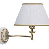Lamp stationary wall, textile tape, wood - beech, white and gold patina, lamp E27 60W, 260 * 330 * 270 mm.