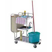 Trolley for cleaning, 2 baskets, bag, 2 pails, stainless steel, 500*800*1050 mm.